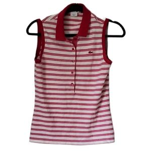 Lacoste Pink Striped Sleeveless Polo Top S…